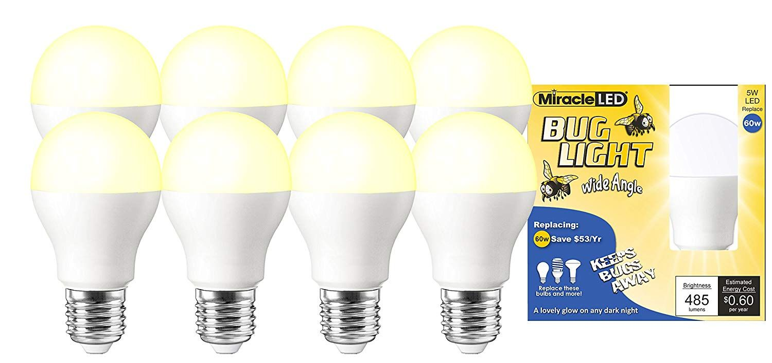 Miracle Led Wide Angle Yellow Bug Light Replaces 60w A19