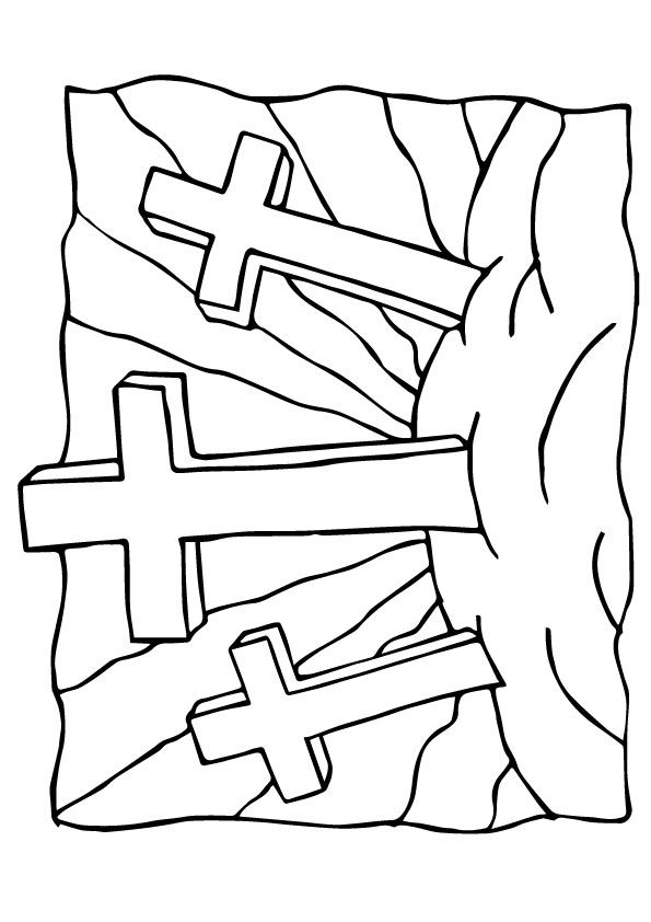 The Three Crosses A4 Jpg 595 842 Sunday School Coloring Sheets