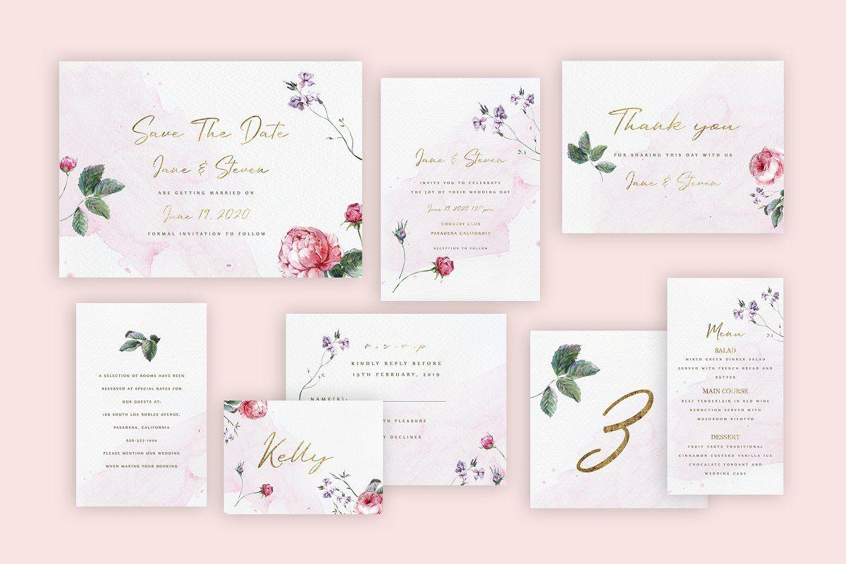 Watercolor Roses Wedding Invitation Rose Wedding Invitations Wedding Invitations Wedding Invitation Templates