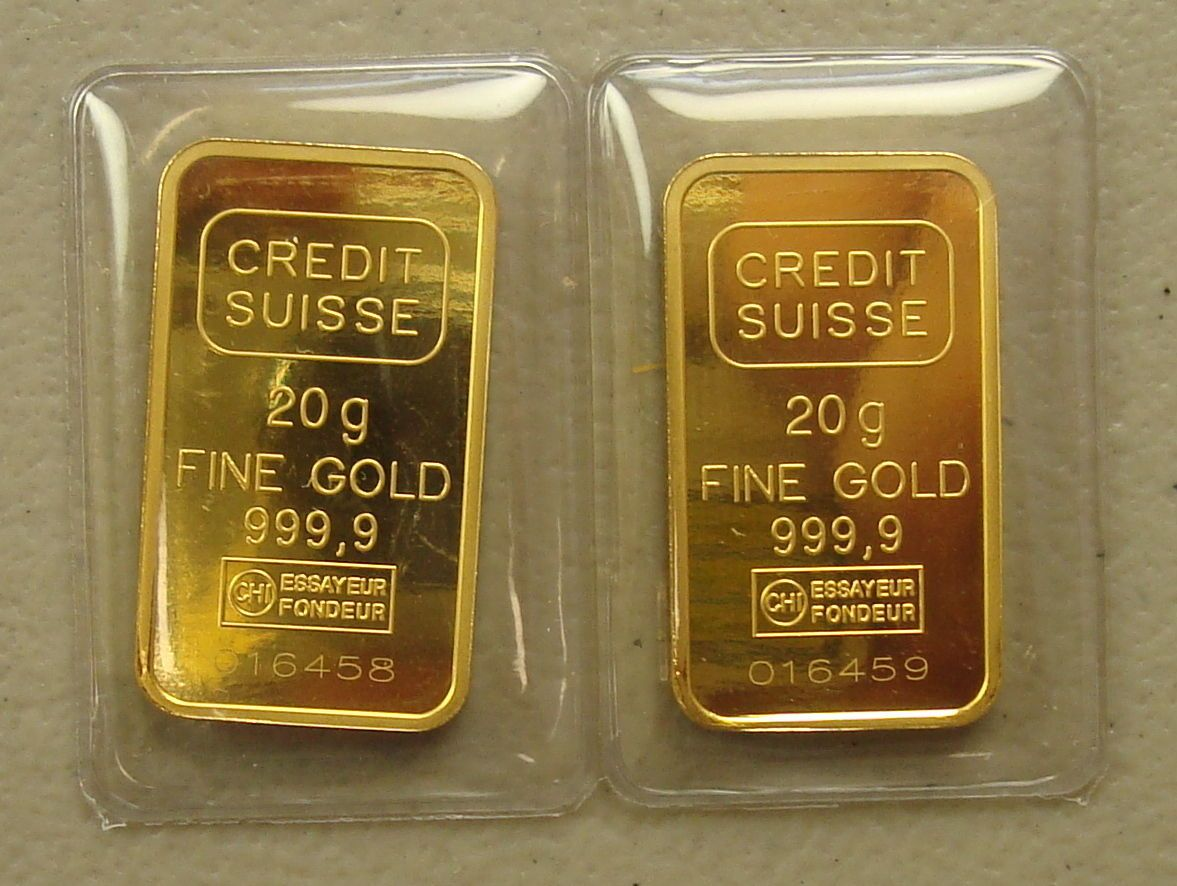 Lot Of 2 20 Gram 24k 9999 Credit Suisse Gold Bullion Bars Gold Bullion Bars Gold Bullion Gold Money