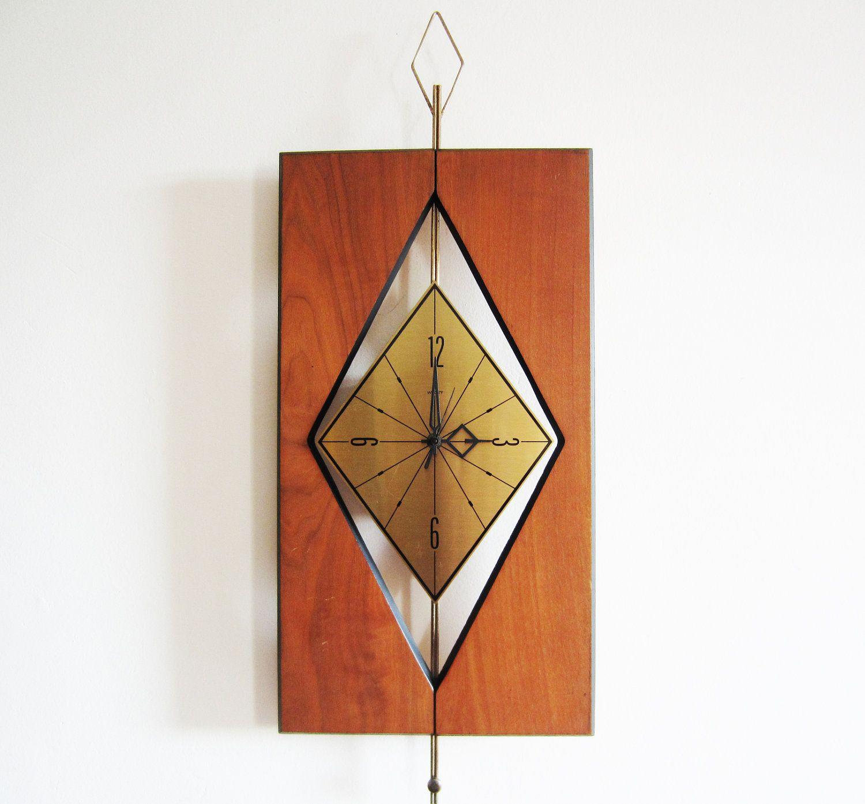 Large Vintage Welby Wall Clock  Mid Century Modern Design  Geometric Wood  & Metal Design