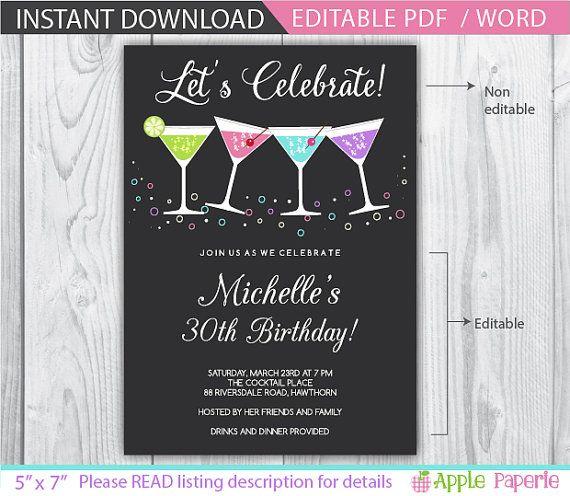 30th Birthday Invitation 40th Cocktail Adult Invitations Female Woman On Etsy