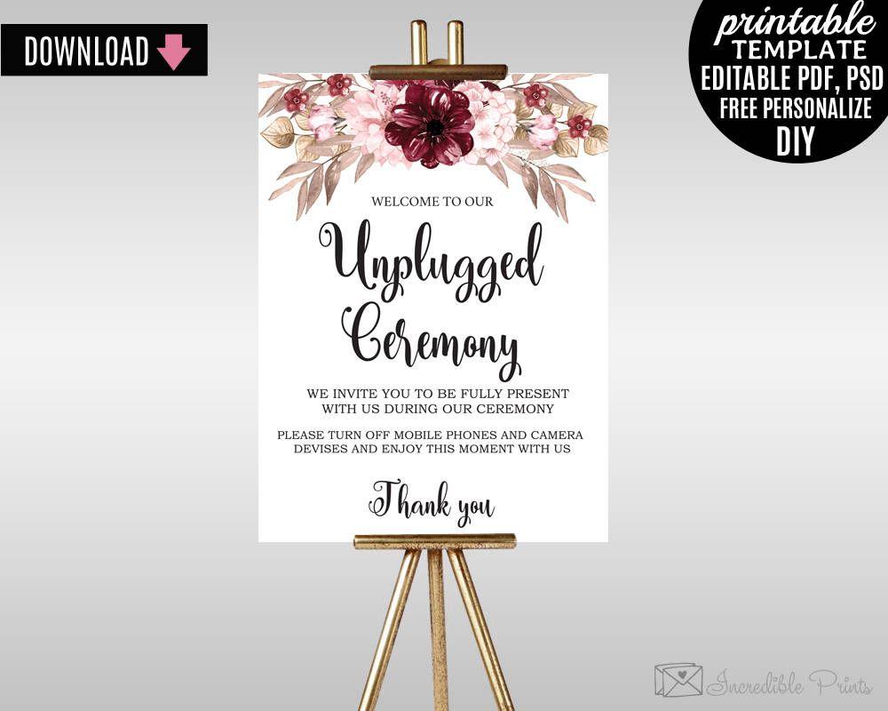 Sign Template Instant Download Johanne Burgundy Garden Editable PDF Merlot Florals Boho Wedding Unplugged Ceremony