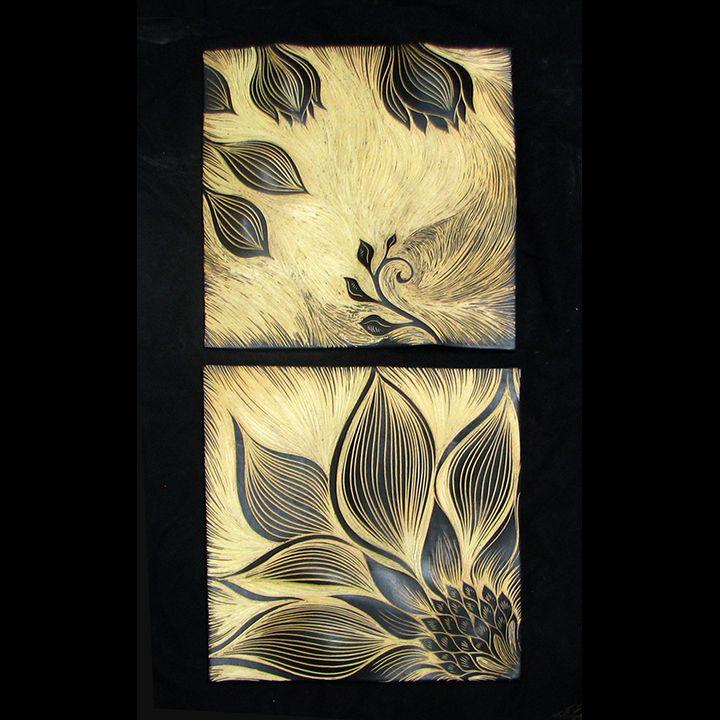 handmade, sgraffito-carved, ceramic wall art tile by Natalie Blake ...