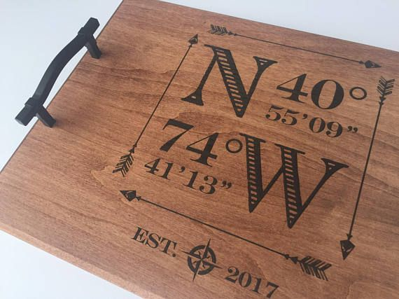 wood engraved serving tray custom wedding gift personalized shower