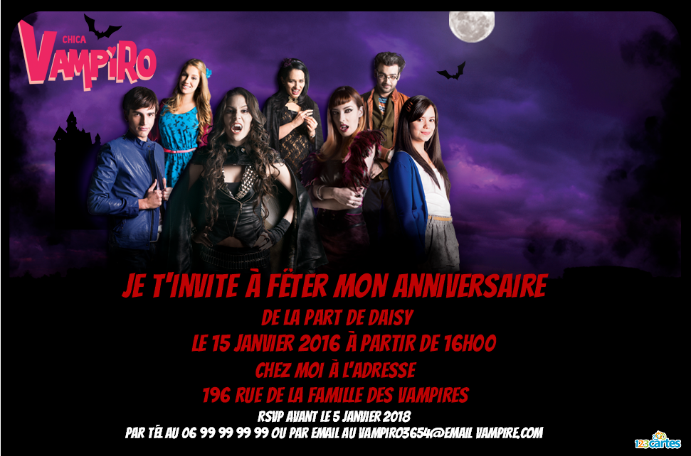 Invitation Anniversaire Ados Chica Vampiro Birthday Pinterest