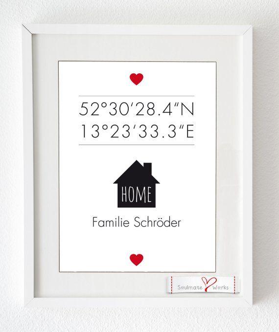Kunstdruck: Zuhause - mit Längen- und Breitengrad, als Druck oder Leinwand, personalisiert für eure Familie mit GPS-Daten und Familien-Namen