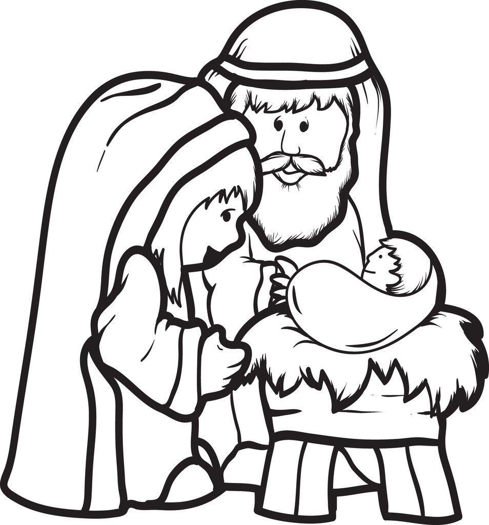 Printable Mary Joseph Baby Jesus Coloring Page For Kids Jesus Coloring Pages Nativity Coloring Pages Nativity Coloring