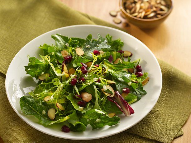 Pomegranate and Almond Salad   A great side salad. Very low in calories