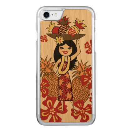 Pineapple Luau Hawaiian Hula Girl Carved iPhone 8/7 Case - floral style flower flowers stylish diy personalize