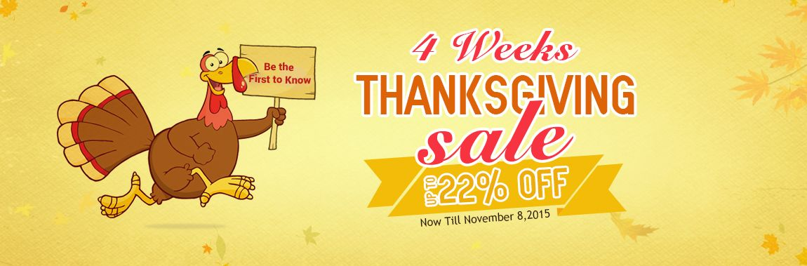 4 weeks thanksgiving sale,up to 22% off