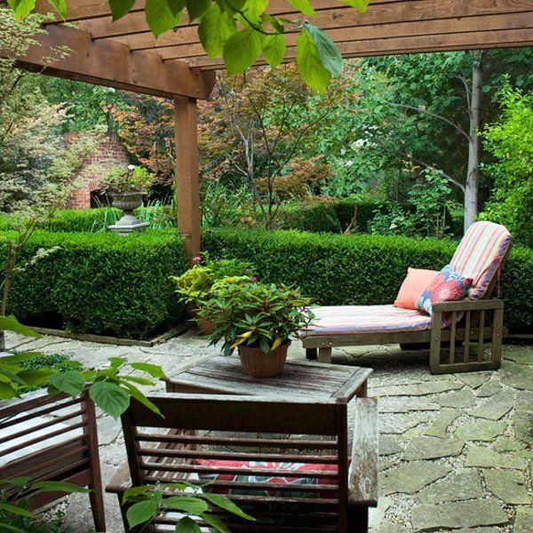 Exterior Garten Design Pergola Ideen Pflanzen Gartenmöbel Liege ... Outdoor Patio Design Ideen