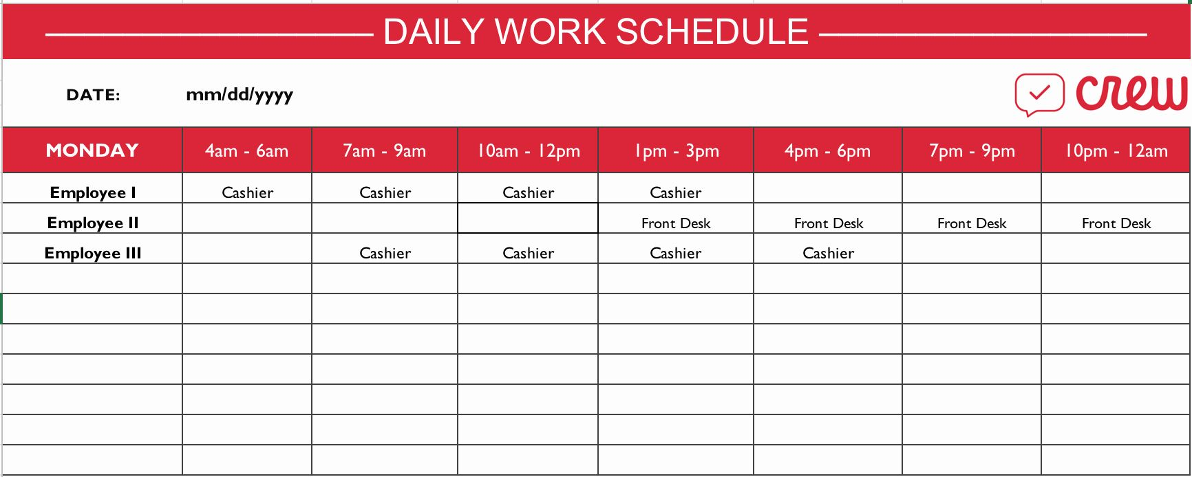 Monthly Work Schedule Template Inspirational Free Daily