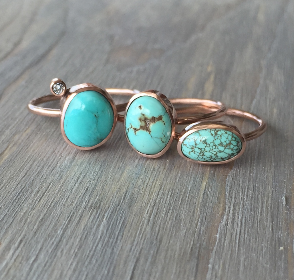 Turquoise Diamond and Rose Gold Ring Fox Turquoise Size 725