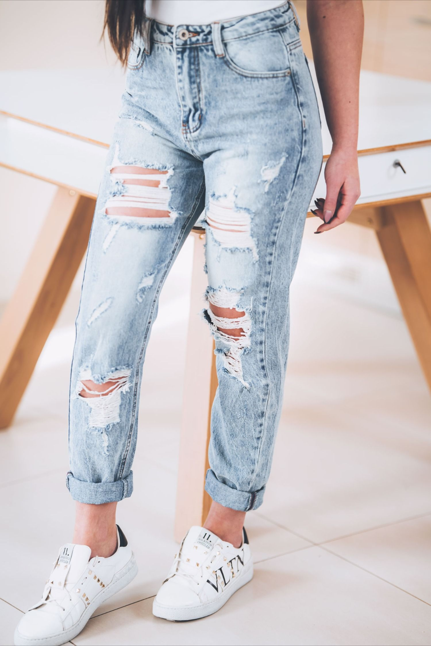 Stylowe Jeansy Mom Fit Street Wear Fashion Outfits