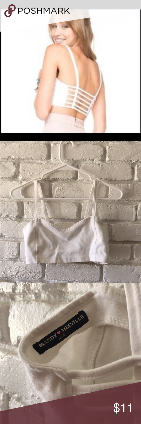 Brandy Melville Chiyo top/bralette Super cute bralette/ top with caged top.  Perfect to layer with the cute caged back. I never got around to wearing it and eventually forgot about it so that's why it's here :).  Super cute and stretchy so I think I could fit sizes from s-m.  In great condition. Brandy Melville Intimates & Sleepwear Bras