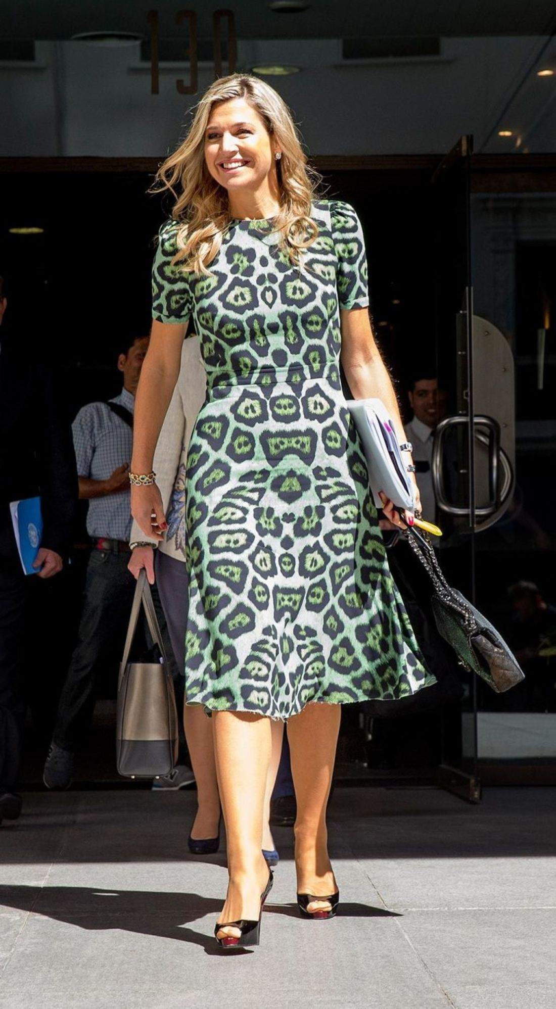 11 October 2016 - Royal visit to Argentina (day 1): Queen Maxima at the UNDP office in Buenos Aires - dress by Givenchy