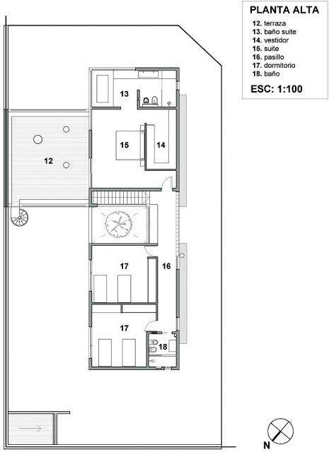 Plano de vivienda unifamiliar en esquina de 220 m2 en un for Casas en ele planos
