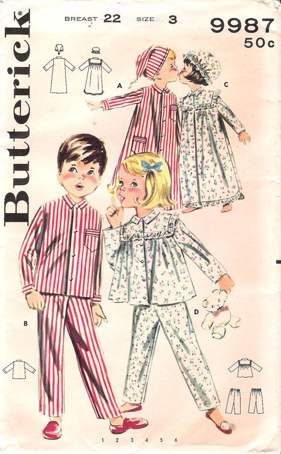 1960s Childs Nightgown Sewing Pattern Butterick 9987 Pajamas