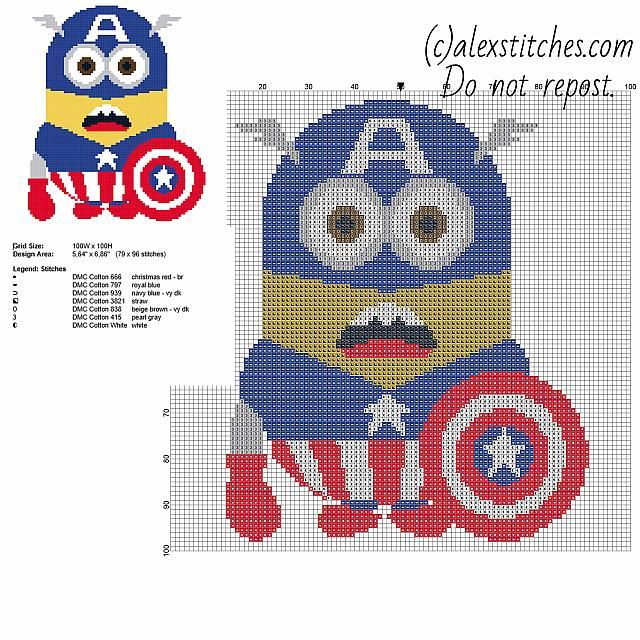 Minion Captain America - Despicable Me free pattern (79 x 96 ...