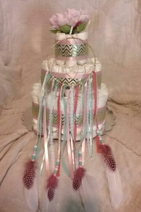 Dream Catcher Diaper Cake | CV creations | Baby Shower ...