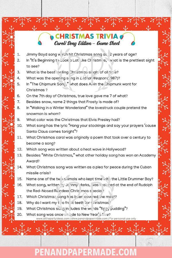 Christmas Trivia Printables Bundle [140 Unique Questions