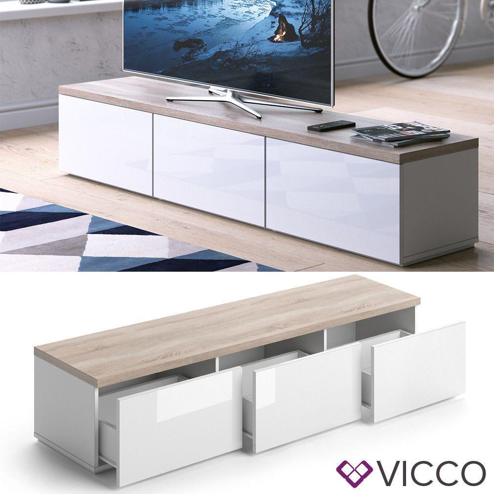 Fernsehschrank weiß  Details zu VICCO Lowboard PANARAI Weiß - Fernsehschrank Sideboard ...