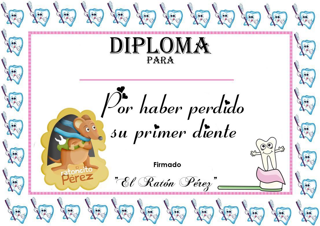 Diploma Ratón Pérez El De Los Dientes Para Niña Y Niño Padres