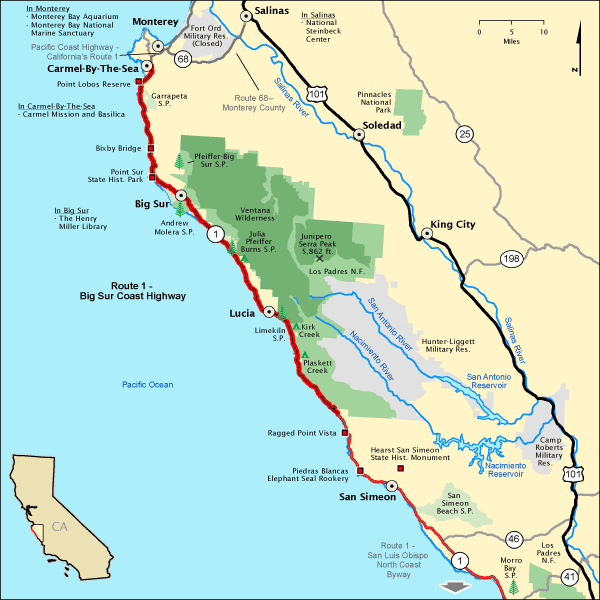 Route 1 - Big Sur Coast Highway - Map | America\'s Byways | Pacific ...