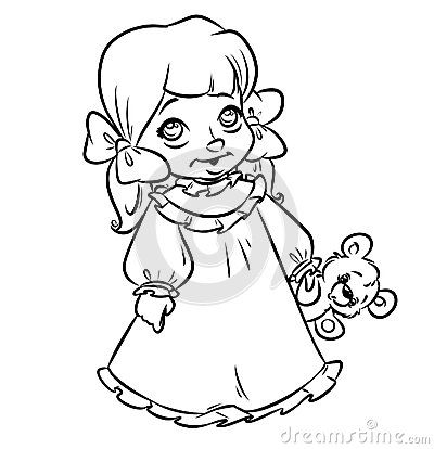 Little girl pajamas coloring pages contour illustration Emberek
