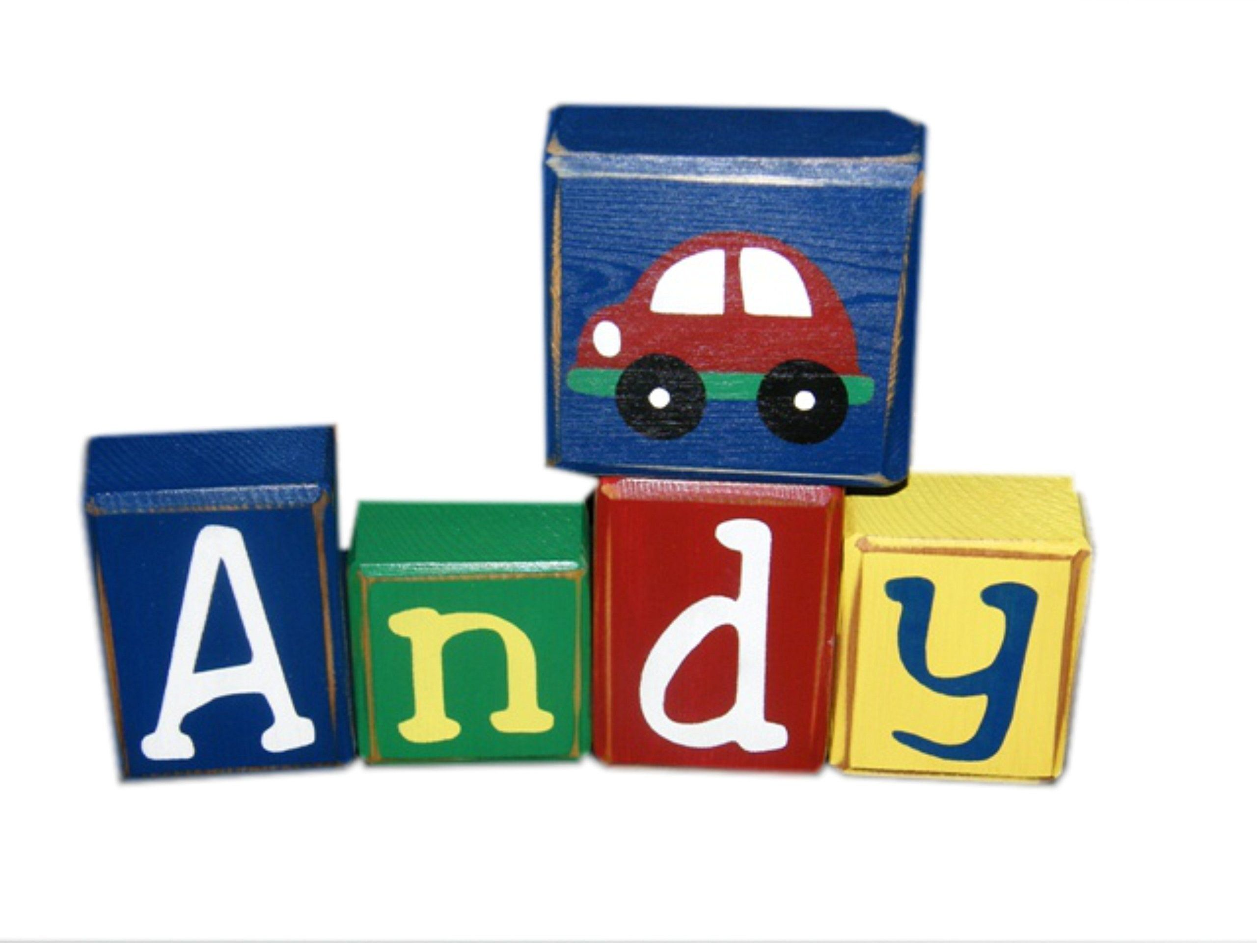 Boy Name Blocks - Car - Transportation Theme - Custom Letter Blocks - Boy Birthday Gift - Wooden Sign - Wooden Custom Sign. Doesn't this set POP? Price listed is PER block. These are individual letter blocks (not stuck together). You are welcome to customize as much as you wish! Just include the # of blocks needed, along with your special requests (colors/font/design) in the checkout options. I can also match bedding. Colors Shown: Navy Blue, Kelly Green, Red and Bright Yellow Image block...