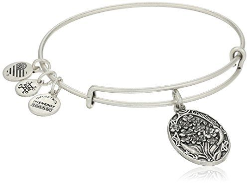 Bangle bracelet featuring molded bouquet charm with Grandmother text ...