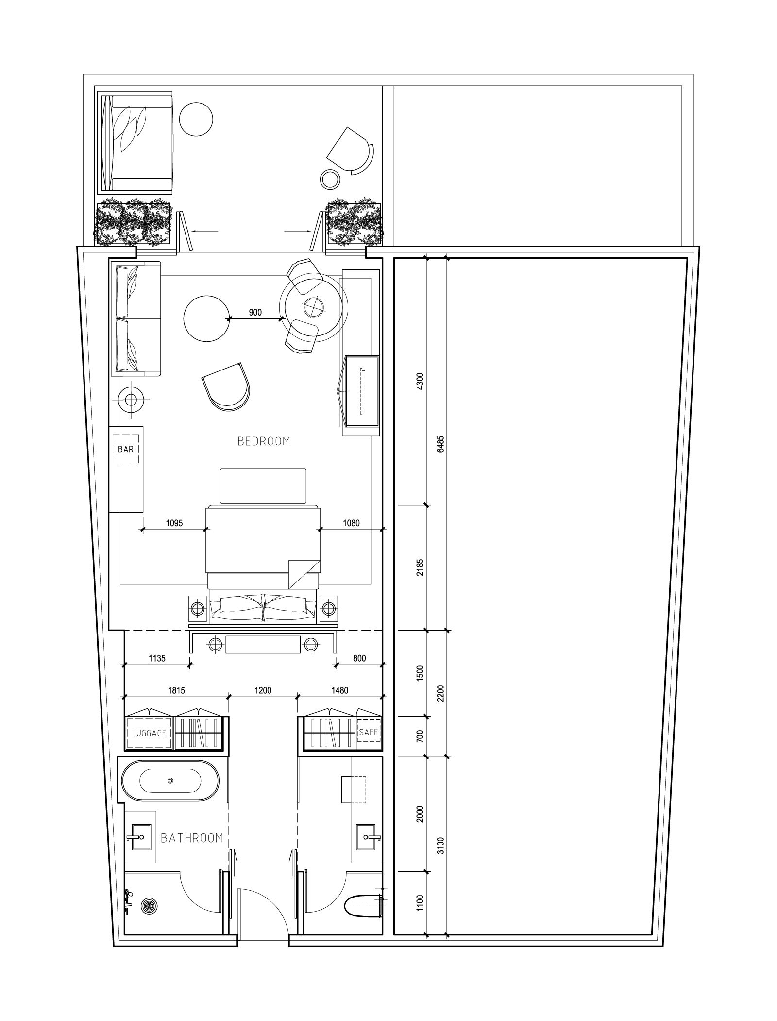 Hotel Room Plan: This Is Actually A Plan For A Hotel Room, But It Has Some