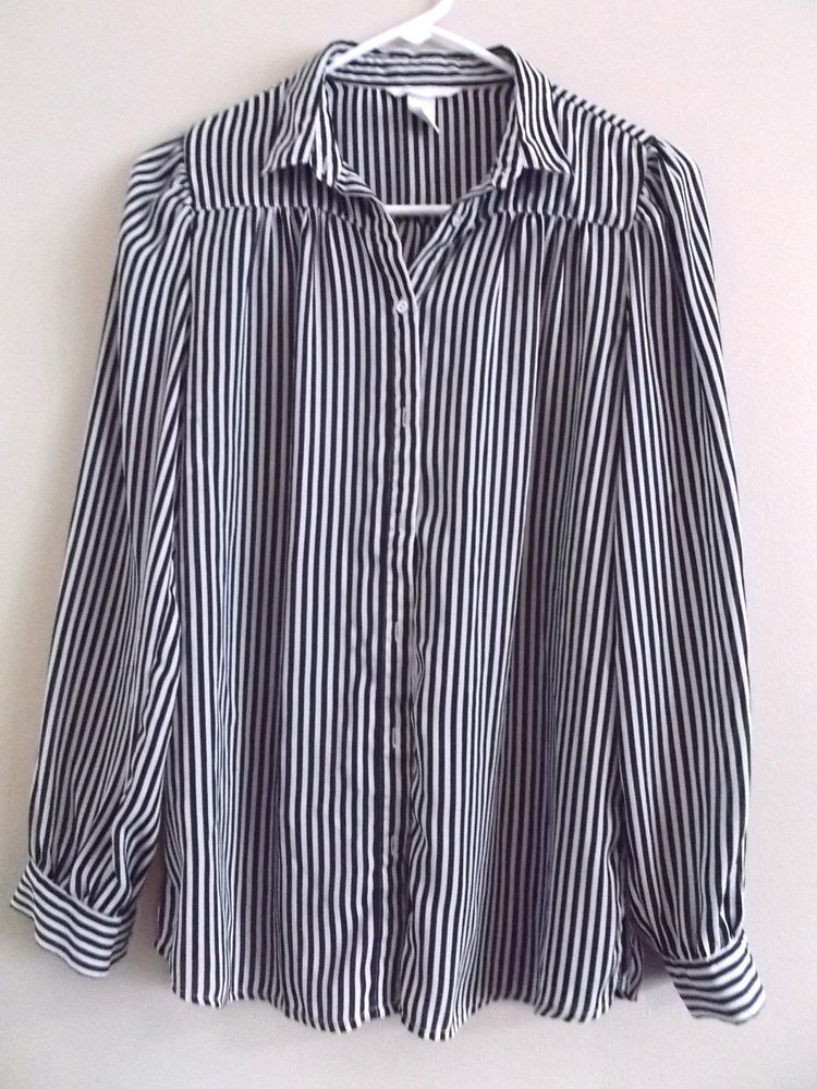 Women S H M White Black Striped Long Sleeve Button Up Career Blouse