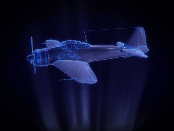 blue xray aircraft in hologram wireframe style3d rendering