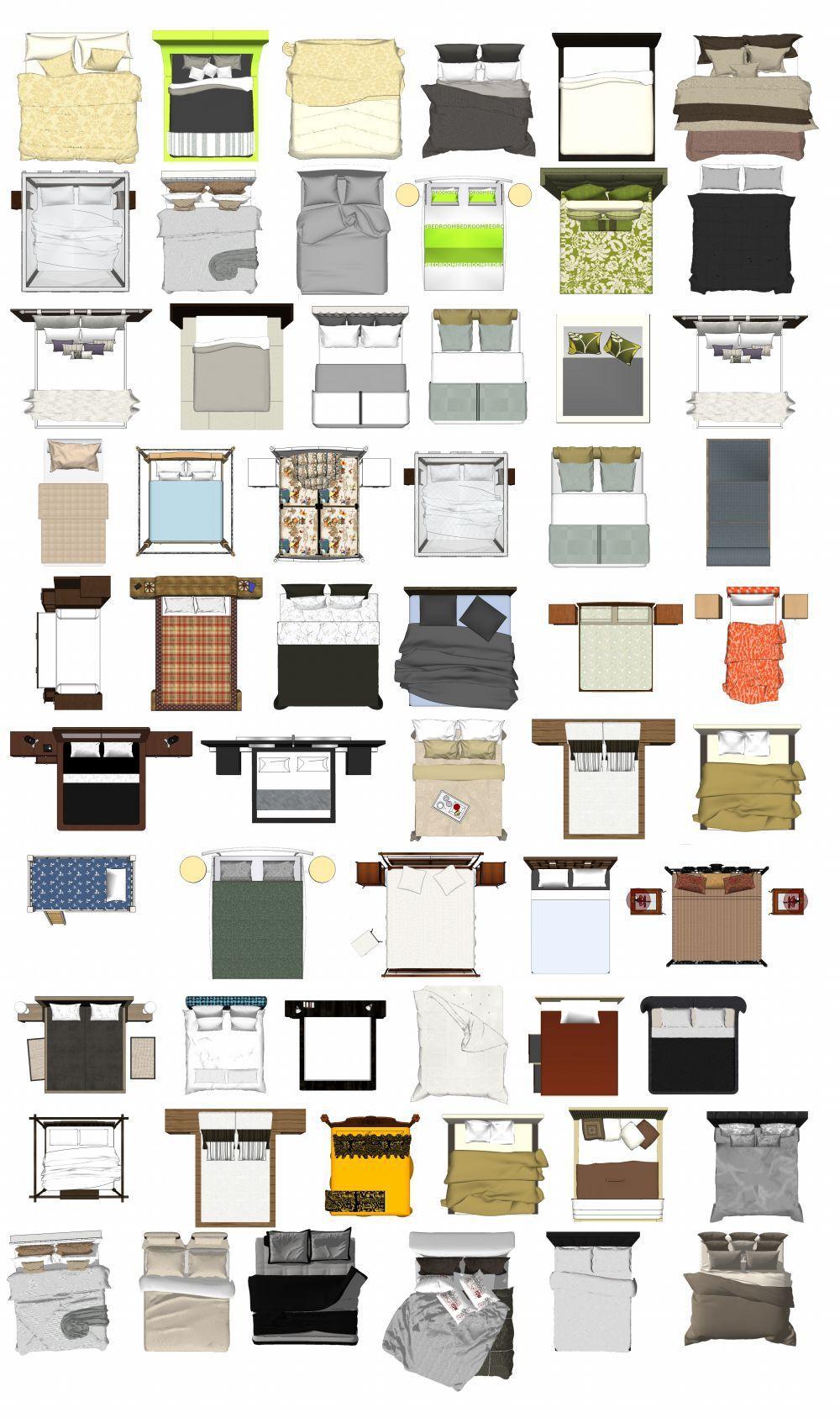 Photoshop Psd Bed Blocks 1 Interior Design Plan Interior Design