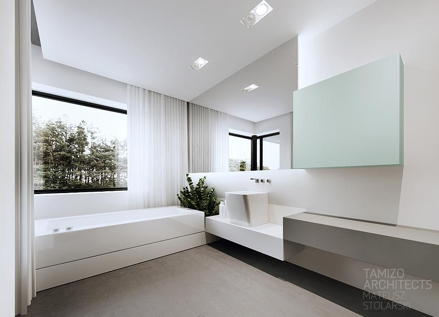 Deep white bathtub interior design contemporary modern