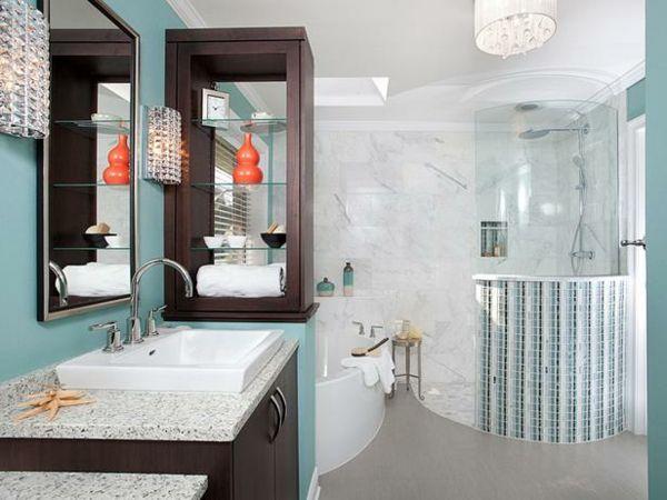 stilvolles Design Möbel Dusch Marmorboden Holz Badezimmer Ideen