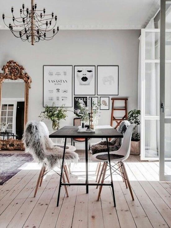 How To Incorporate The Faux Fur Trend Into Any Aesthetic Scandinavian Dining Room Living Room Scandinavian Scandinavian Design Living Room