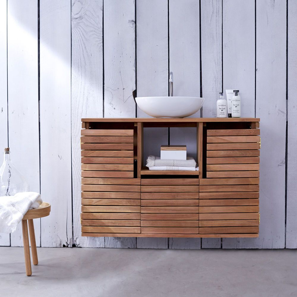 Tikamoon Solid Teak Washstand Sink Unit Vanity Cabinet Wooden Bathroom