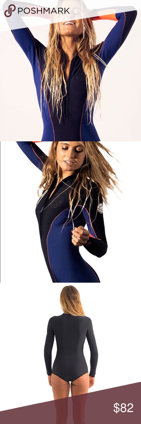 1mm Women's RipCurl G-BOMB L/S Booty Springsuit Rip Curl's G-BOMB women's front-zip springsuits are where style and performance converge. Sexy, young, and super high performance design and materials allow you to look your best in the water and perform to the best of your abilities. Made of 100% stretch E4 neoprene with action panels for superior comfort and maneuverability. This suit also features durable and high-stretch flatlock seams, a strong front zip closure, and a stash pocket for…