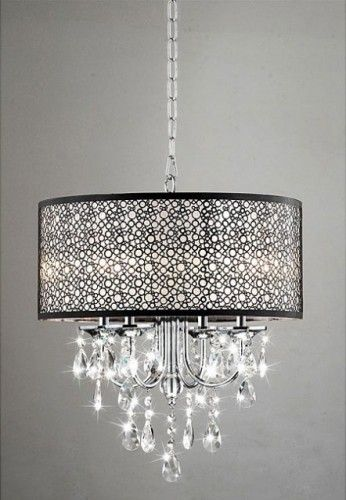 Indoor 4-Light Chrome/Crystal/Metal Bubble Shade Chandelier modern chandeliers