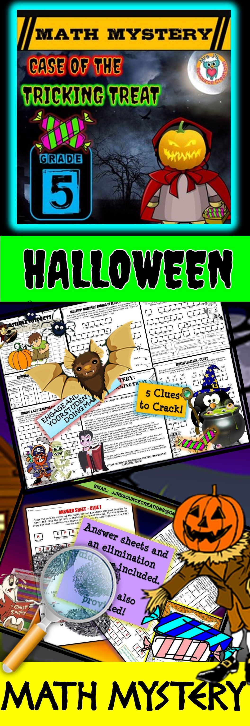 5th Grade Halloween Activity Halloween Math Mystery Game