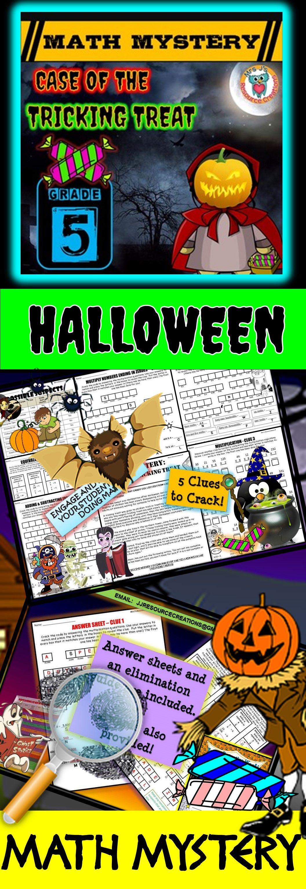 5th Grade Halloween Activity Halloween Math Mystery Game