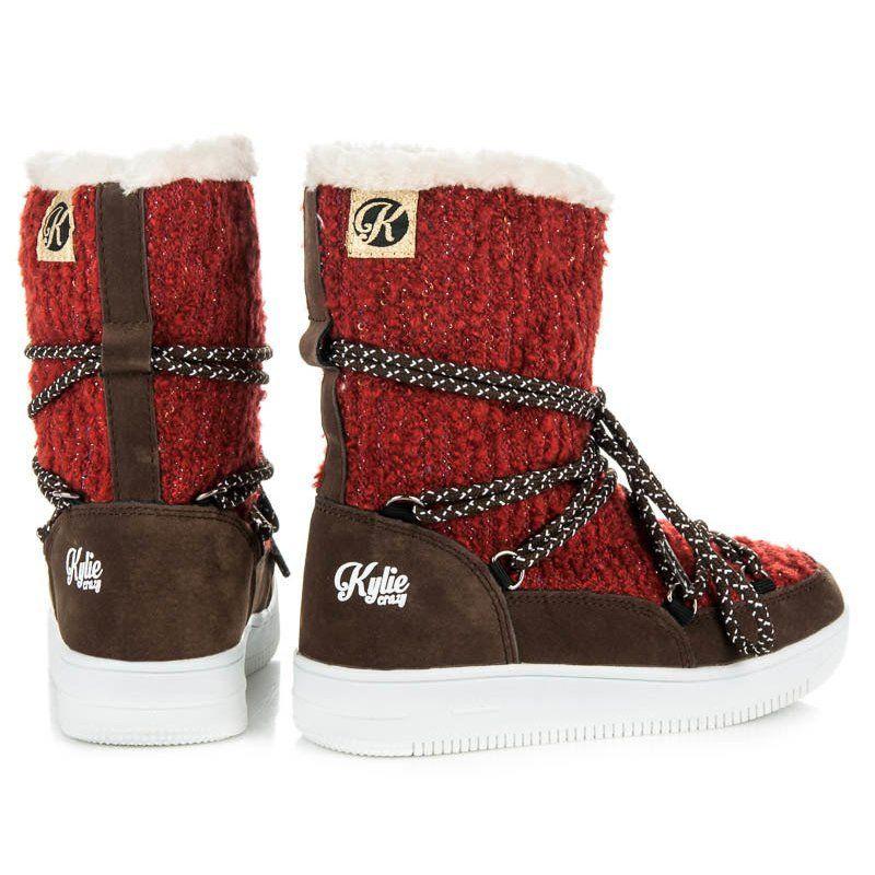 Kozaki Dla Dzieci Kylie Czerwone Buty Zimowe Kylie Boots Winter Boot Shoes