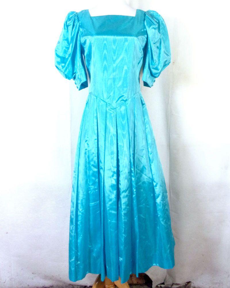 Vtg s bright blue classic huge bow prom dress puffy princess