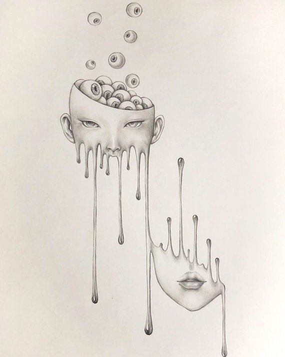 Photo of limit autographed print, melting Girl with eyeball, surreal pencil drawing, horr…