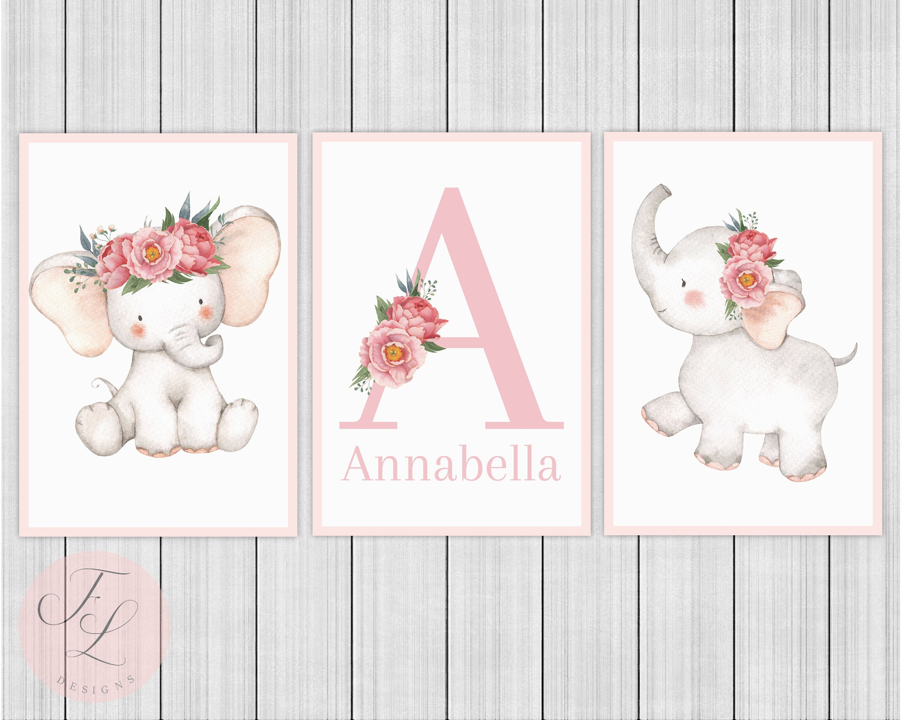 3 Personalised Nursery Name Prints Cute Flower Elephant Baby Room Wall Art Decor