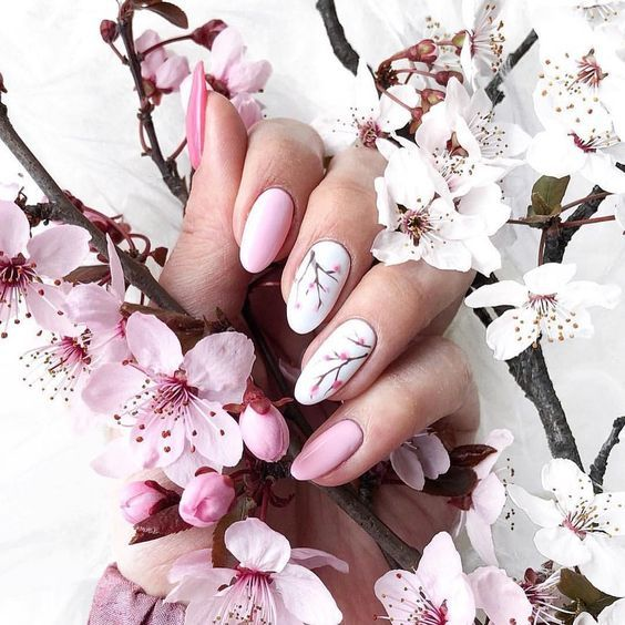 53 Awesome Cherry Blossom Nail Art Designs And Ideas In 2020 Cherry Blossom Nails Cherry Blossom Nails Art Cherry Nails