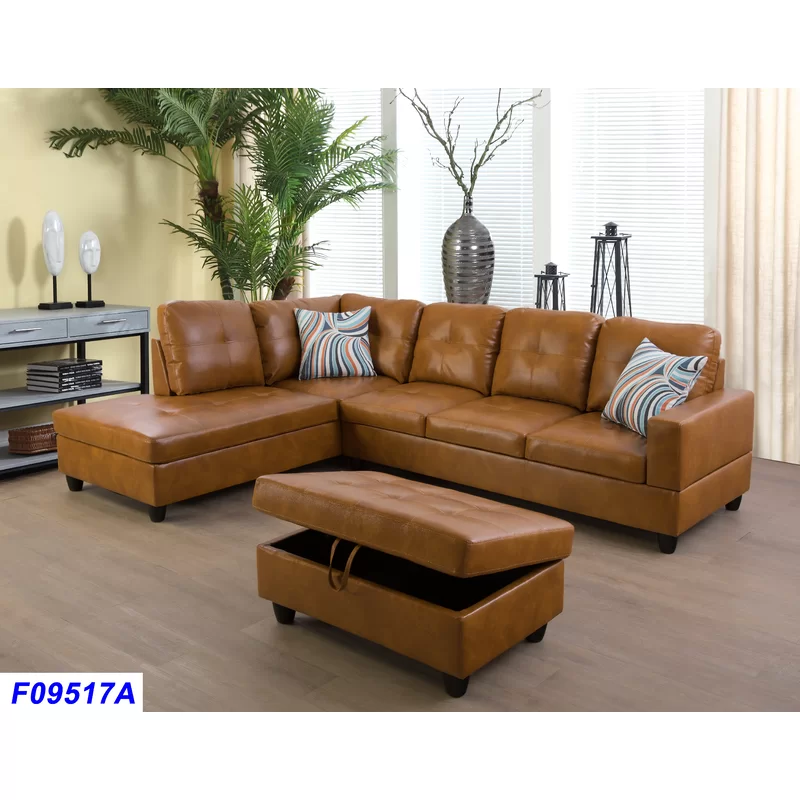 Wilhelmine 103 Sectional With Ottoman Faux Leather Sectional Faux Leather Sofa Leather Sectional Sofa